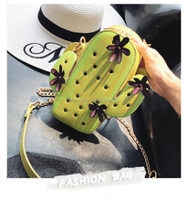 Hottest fashion Lovely cute Cactus bags Shaped Green Pu Leather Box Clutch shoulder Messenger Bag mini bags for girls women