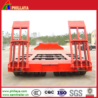 heavy duty machine transport multi-used tyre exposed 3 lines low bed 6 axle trailer
