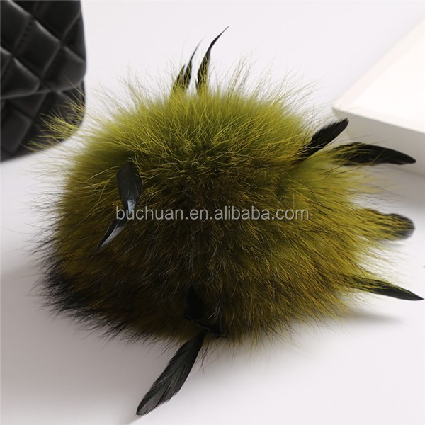 raccoon fur pompons for bags <strong>keys</strong>