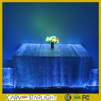 fiber optic fabric glow in the dark led wedding tablecloths