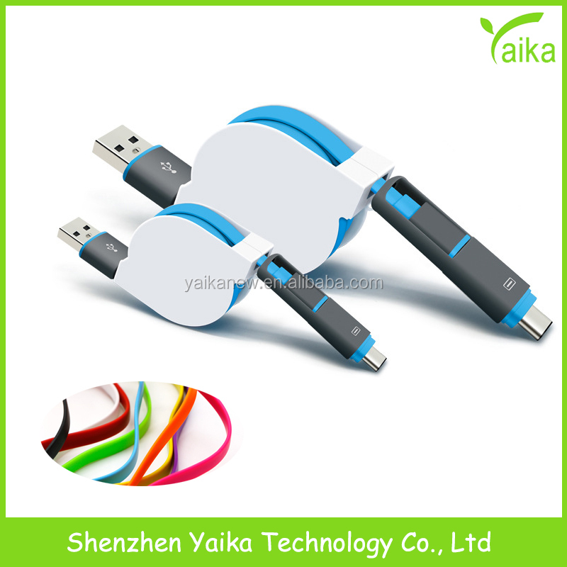 Yaika Gift Item Customized Logo 2 in1 Type <strong>C</strong> 3.1 Male to USB Retractable Cable for Apple MacBook <strong>12</strong>