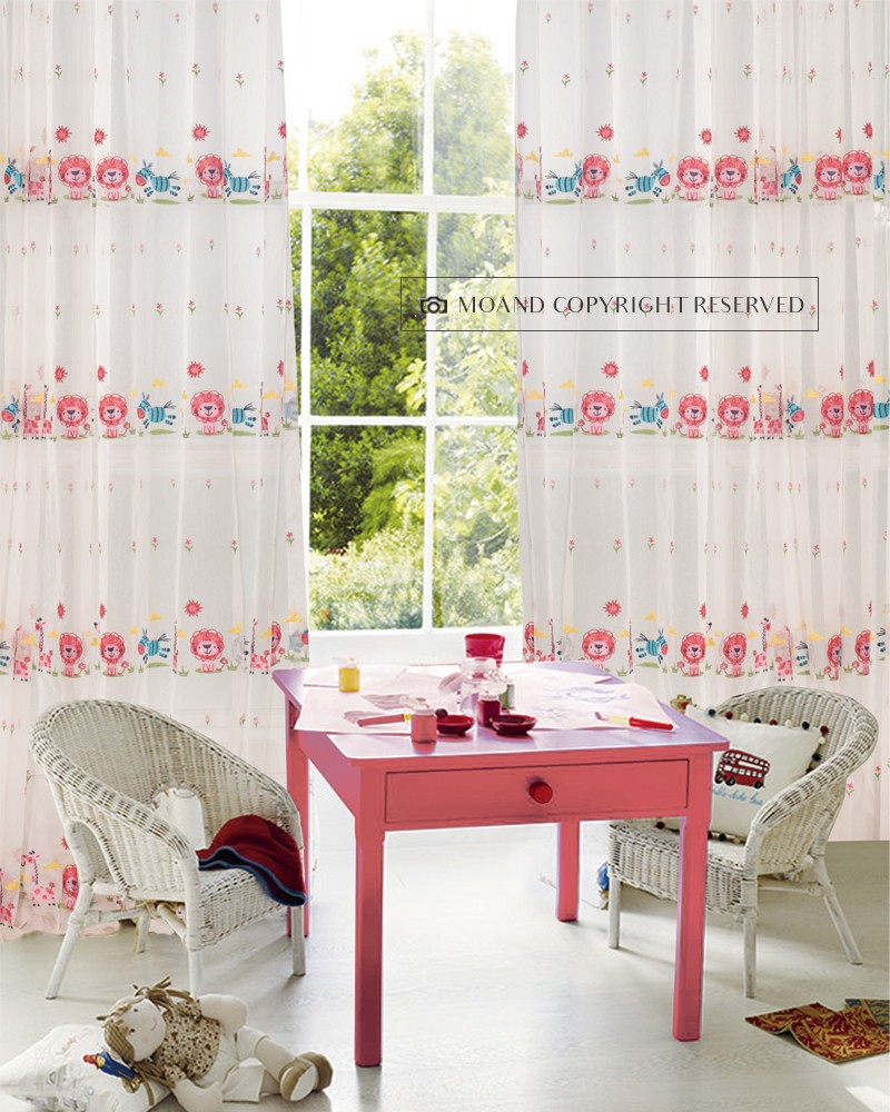 Kawaii Style Home Polyester Embroidery Look Like Blackout Window Curtains Roll Sheer For Decorative