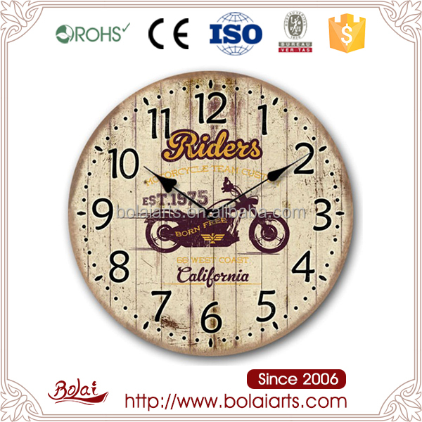 Black numbers reddish-brown motorcycle pattern clock wholesale wood craft supplies
