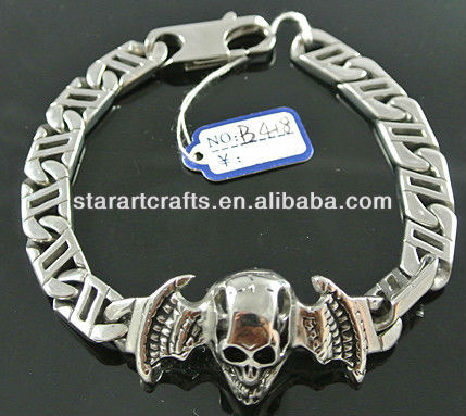 2012 new fashion men jewelry stainless steel religious skull head bracelet chain B418