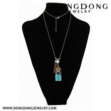Dongdong long metal rope long necklace pendant glass bottle