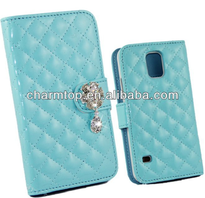 Rhinestone Grid Leather wallet Case For Samsung Galaxy S5
