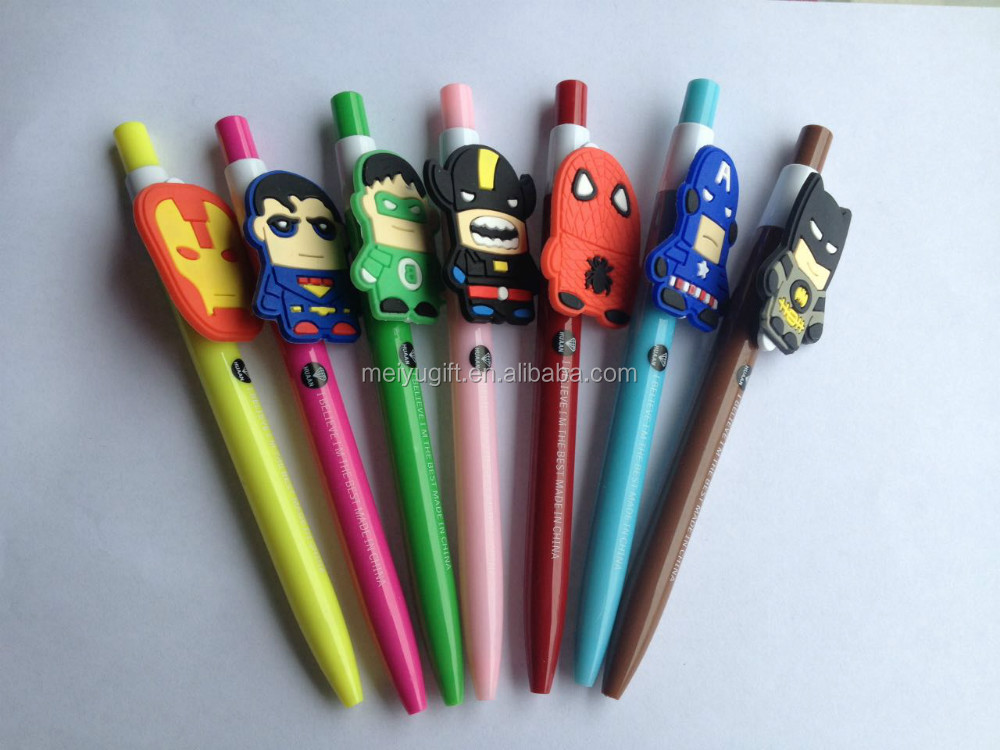 personalized customize cartoon character rubber ball pen with your character design