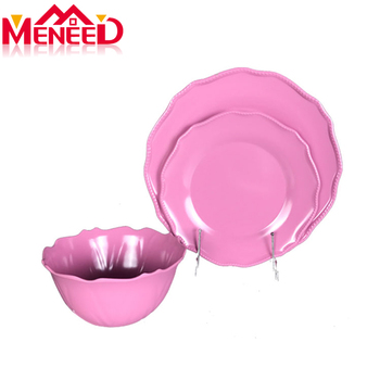 Lace rim houseware pink melamine dinnerware set wholesale