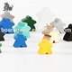 colored board game wooden playing pieces meeples