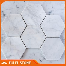 "Cheap 4"" Bianco White Carrara Hexagon Honed Marble Mosaic Floor Tile"