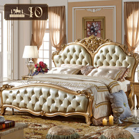 311# Antique best-selling and delicately bedroom furniture carved by hand solid wood leather queen size bed