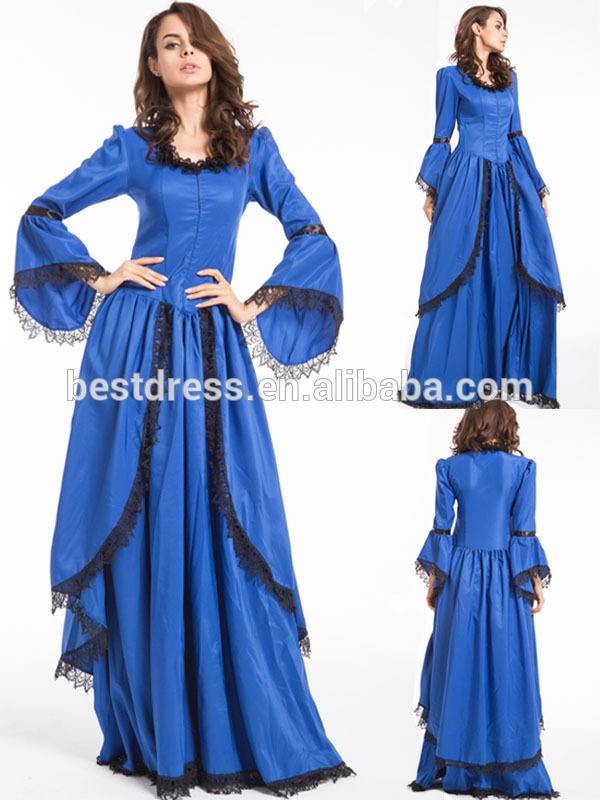 China instyles China suppliers WOMENS MEDIEVAL GOTHIC ROYAL BLUE PRINCESS COSTUME FANCY DRESS IN STOCK walsonrockabilly outlet