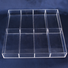 cheap wholesale clear countertop stackable 8 compartment thick acrylic jewelry display tray