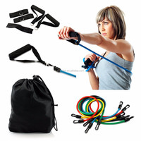 11 Piece Resistance Band Workout Set,Yoga Pilates Exercise Fitness Tube Workout Bands Kit