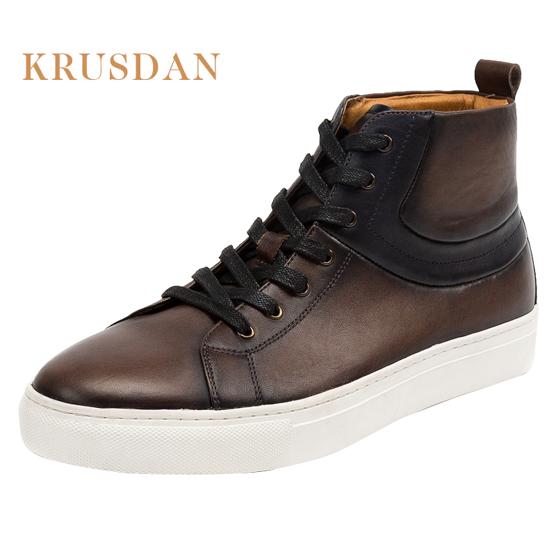 Buy shoes china 2018 new fashion high neck lace up men casual shoes all genuine leather man ankle boot