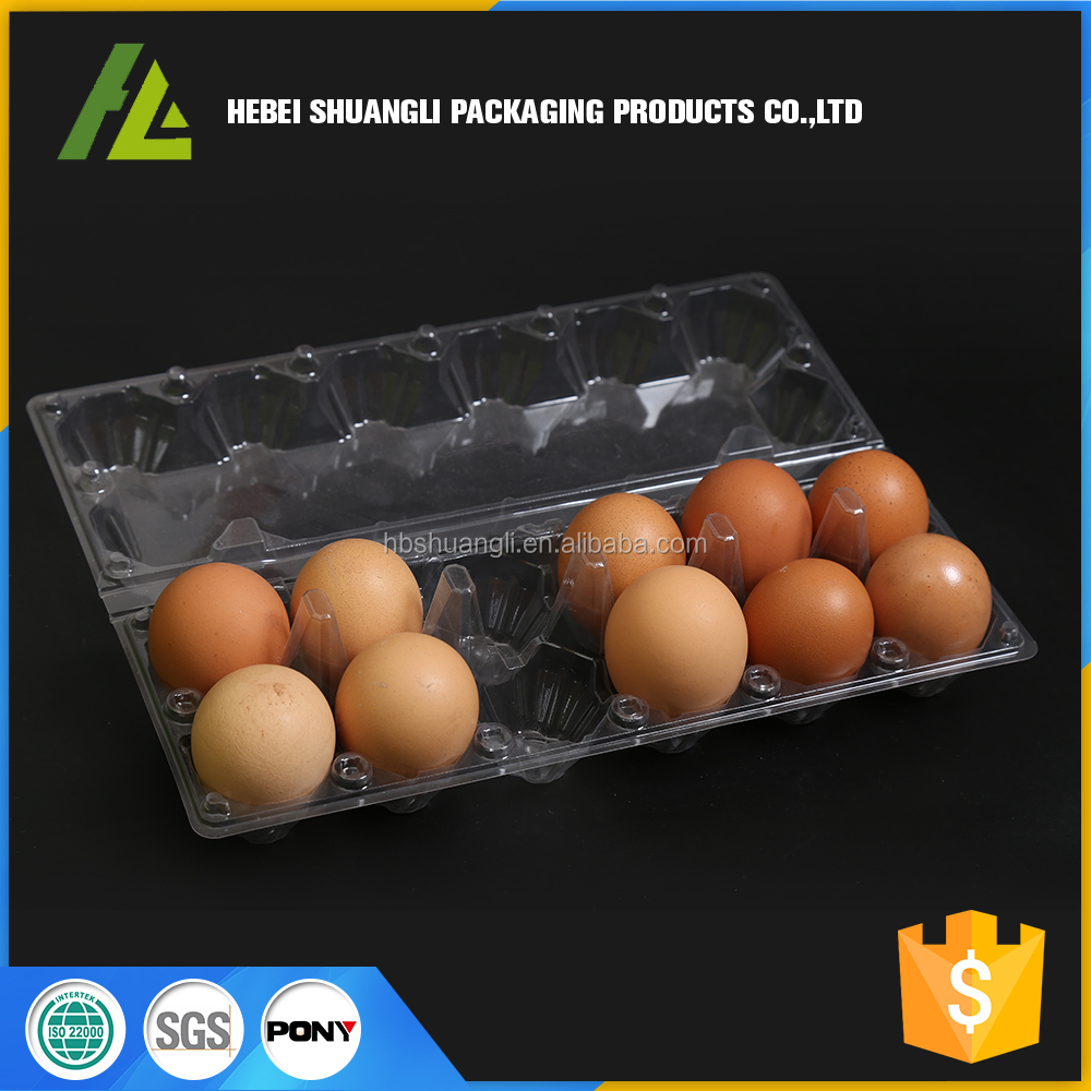 Stackable 12 Cells Clear Plastic Hen Egg Tray