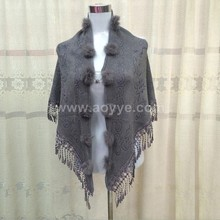 Autumn wear new dress coat jacquard rabbit hair ball tassel loose knitting scarf bride shawl