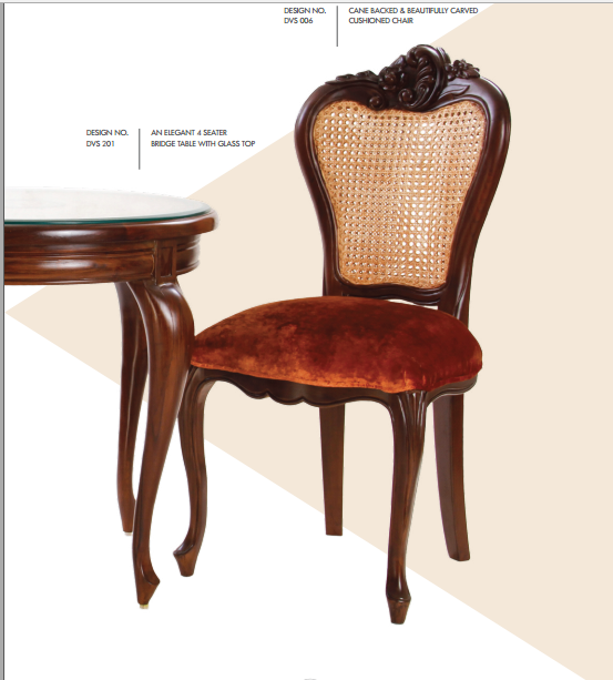 Cane Backed and Beautifully Carved Cushioned Chairs