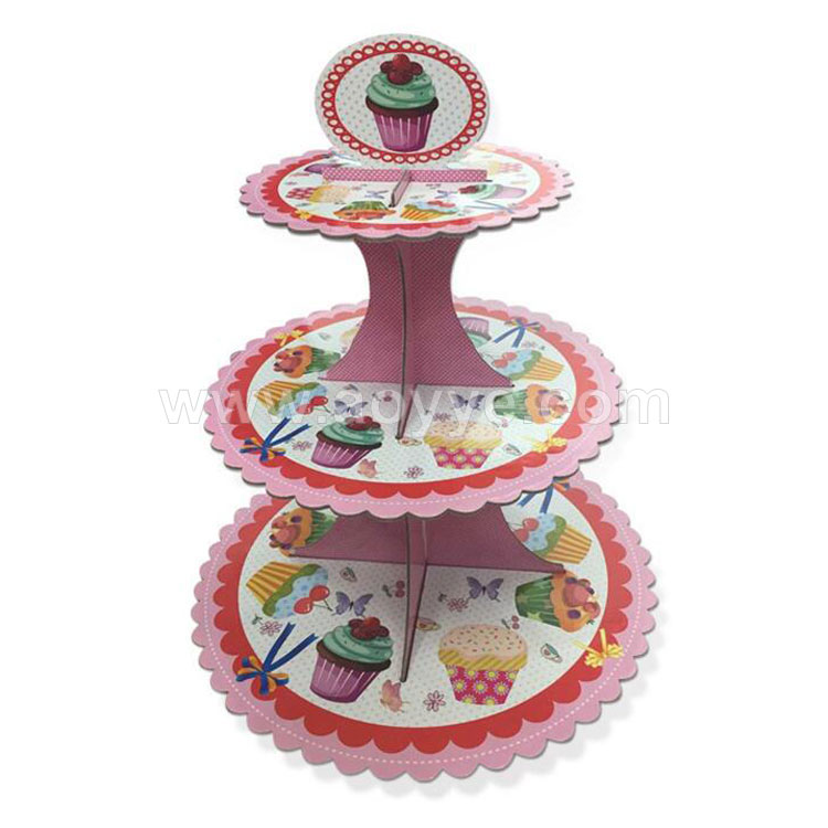 Wholesale christmas cheap price pentagram round children birthday parties folded decorated paper custom wedding cake stand