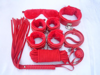 Wholesale top quality bondage sex products red leather bondage restraints kit SE4019