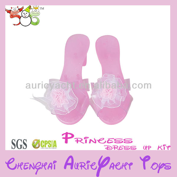 kids fashion high heel shoes,princess laces rose blossoms shoes ZH0904034