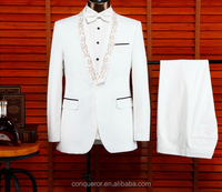 2015 New Style Creamy with black shawl lapel custom tailor made indian wedding suits KR98986 for men made in China