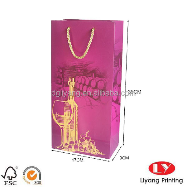 Luxury 2 bottle Packaging Paper Wine bags with golden handles for gift packaging for party
