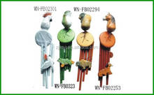 wood easter wind chime with animal shape ornament