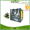 Green resuable supermarket shopping bags with logos
