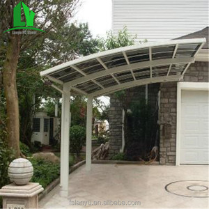Lanyu cheap metal curved roof carport with storage shed attached
