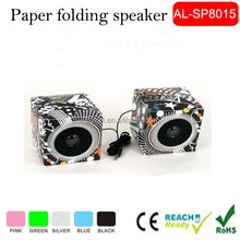 DIY Folding Paper Assemble Speaker , Funny cardboard Box Speaker, Mobile Phone Paper Box Speaker For Wholesale