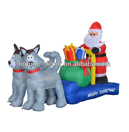 210cm long Christmas inflatable husky sleigh with santa