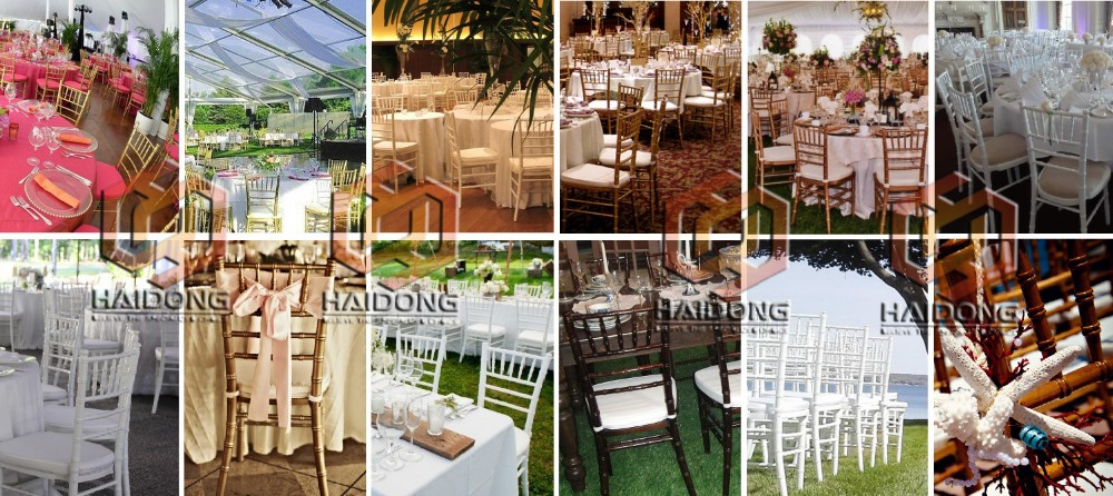 Cheap Modern Outdoor Hotel Wedding Silver PP Metal Resin Chiavari Chair