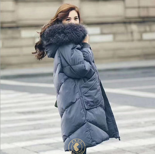 2017 new loose long light weight women down coats warm real fur feather collar winter jackets for women plus size overcoats