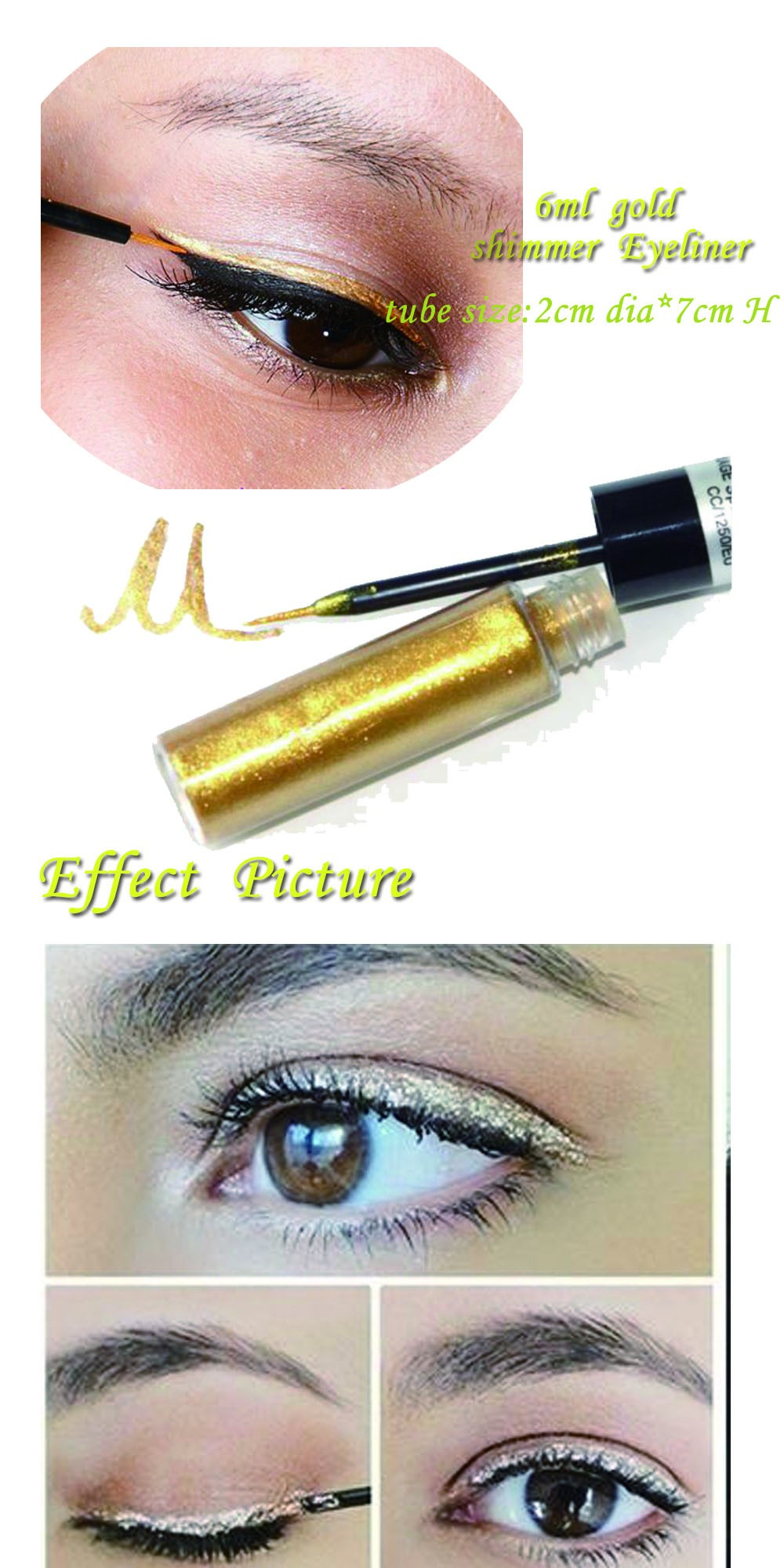 Wholesale makeup eyeliner pencil gold shimmer eyeliner