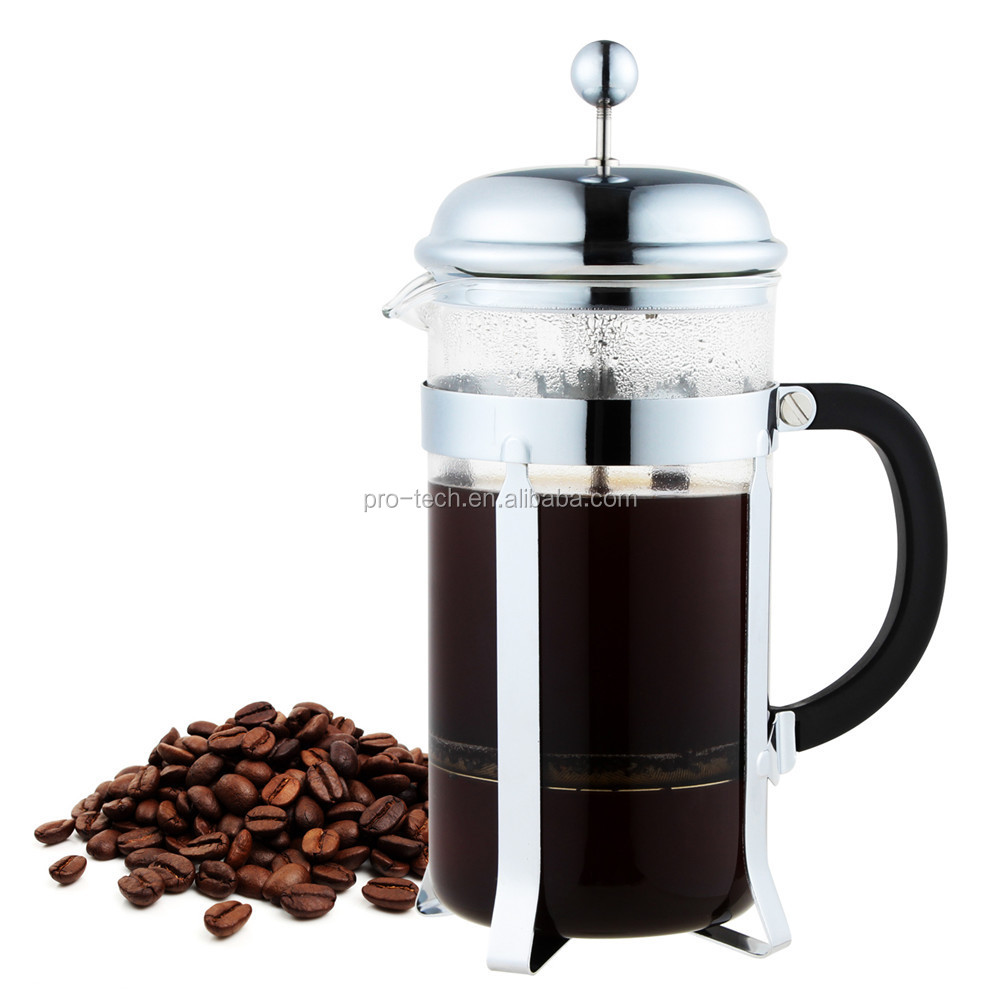 French Press, Heat Resistant Glass stainless steel Coffee Press Tea Maker Pot