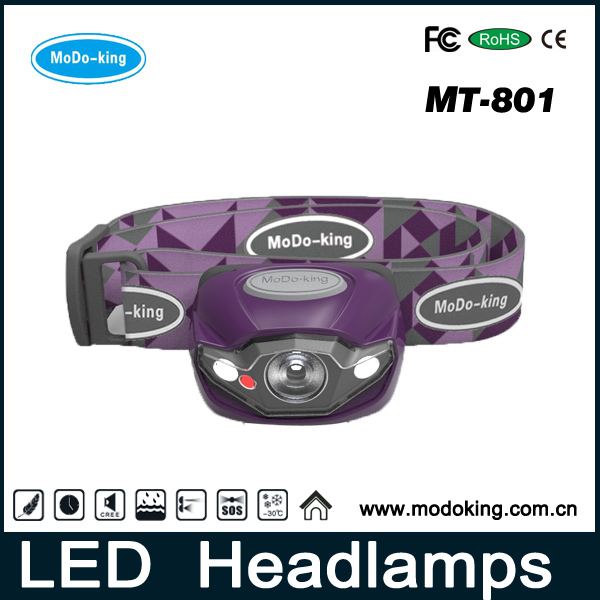 Hunting headlamp, reading head lamp, 3 white led 1 red led head light with customized service
