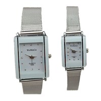 women and men size luxury silver grid band precise quartz movement womage fashion lovers stainless steel watch