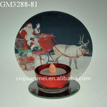 handmade colorful glass candle holder with mirror /glass christmas decoration