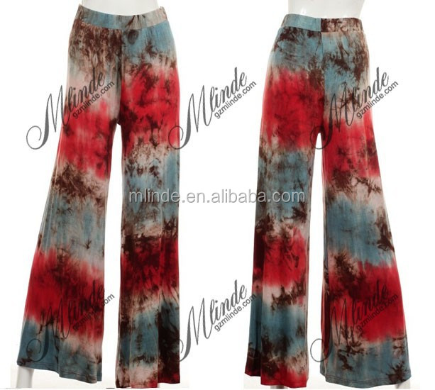 WIDE LEG TIE-DYE PANTS WITH ELASTIC WAIST BAND WOMEN