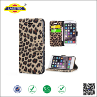 New Design Leopard-Print Denim Wallet Case For Iphone6