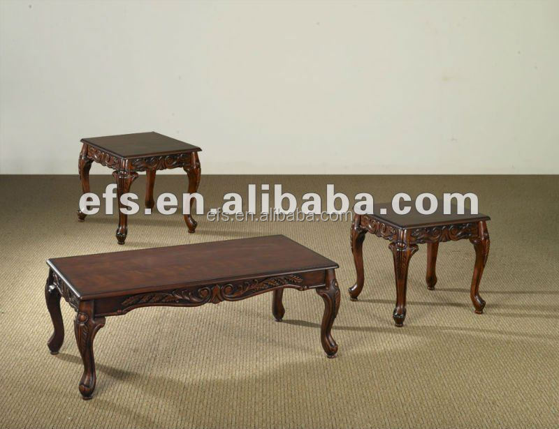 2014new arrival antique wood coffee table with queen anne leg(EFS-T-21)