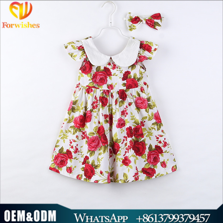 6m-4y toddler clothing girls dress ruffle sleeve smocked lapel floral back to school dress