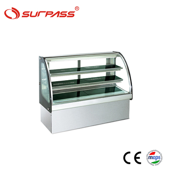 2 Shelves Curve Glass Double Layer Cake showcase