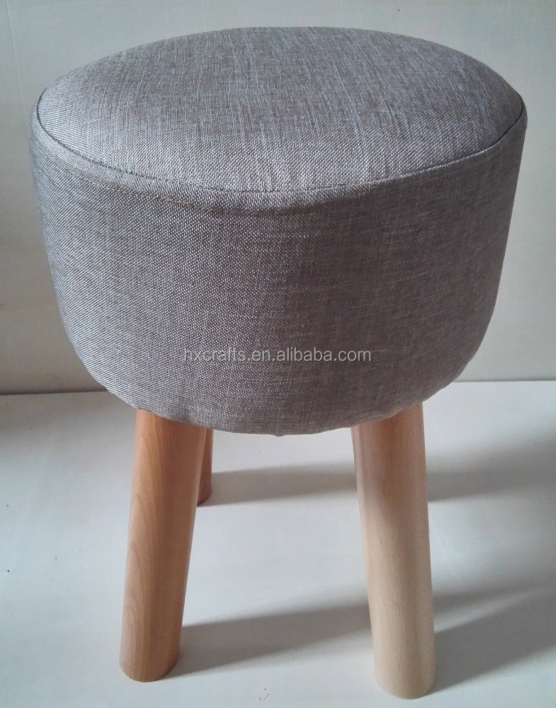 living room furniture padded round stool ottoman wooden pouf