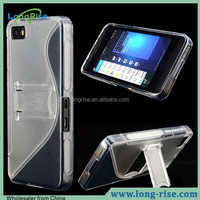 High Quality Transparent Case for Blackberry Z10, S Line TPU +PC Hard Cover with Kickstand Case for Blackberry Z10