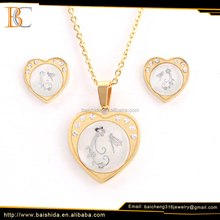 gold plated charms heart shape shell choker for guangzhou jewelry market