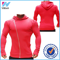 French Terry fitness hoodies strong workout hoodie men custom made gym wear shrinkproof fitted zip up hoodie mens gym wear 2016