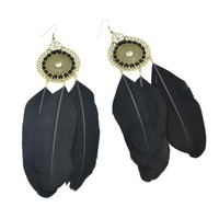 New Fashion Bijoux Long Black Feather Drop Earrings For Women Vintage Earring