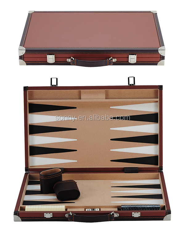 15 inch Leatherette Backgammon Set for Quiz Show